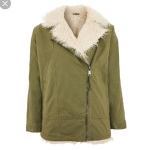 Topshop faux fur green jacket